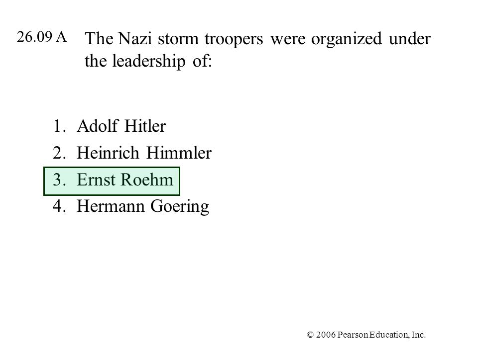 The Nazi storm troopers were organized under the leadership of: