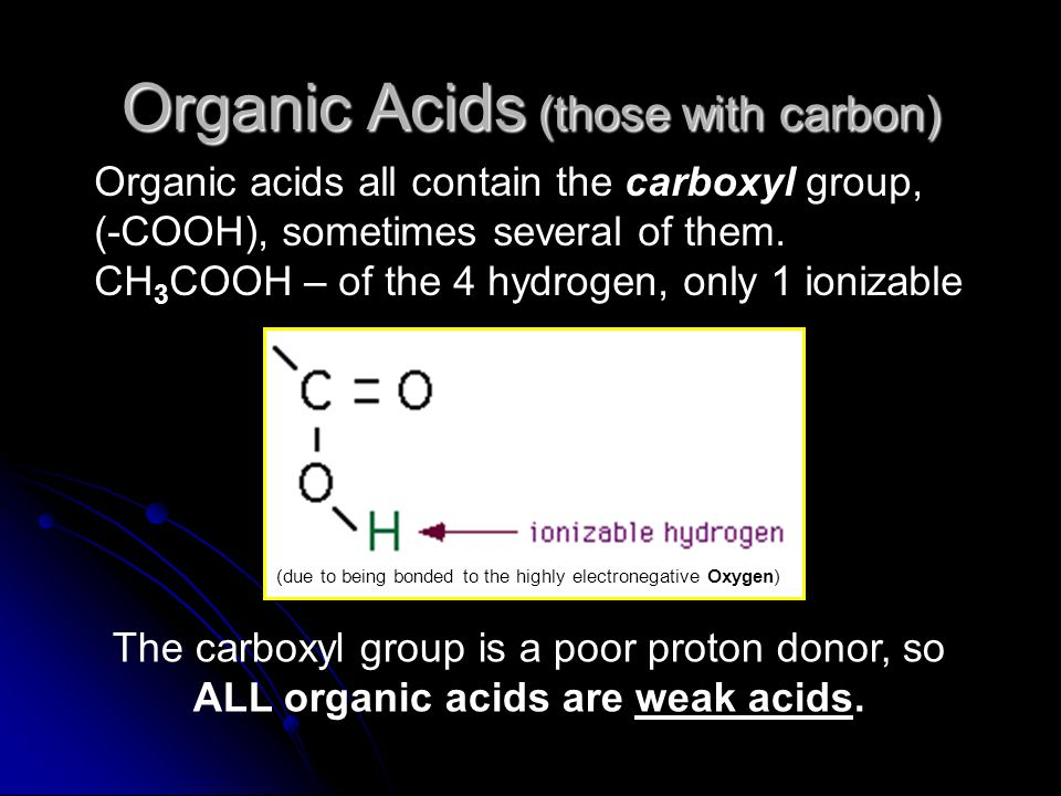 Organic Acids (those with carbon)