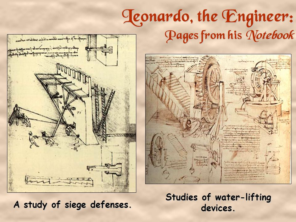 Studies of water-lifting devices. A study of siege defenses.