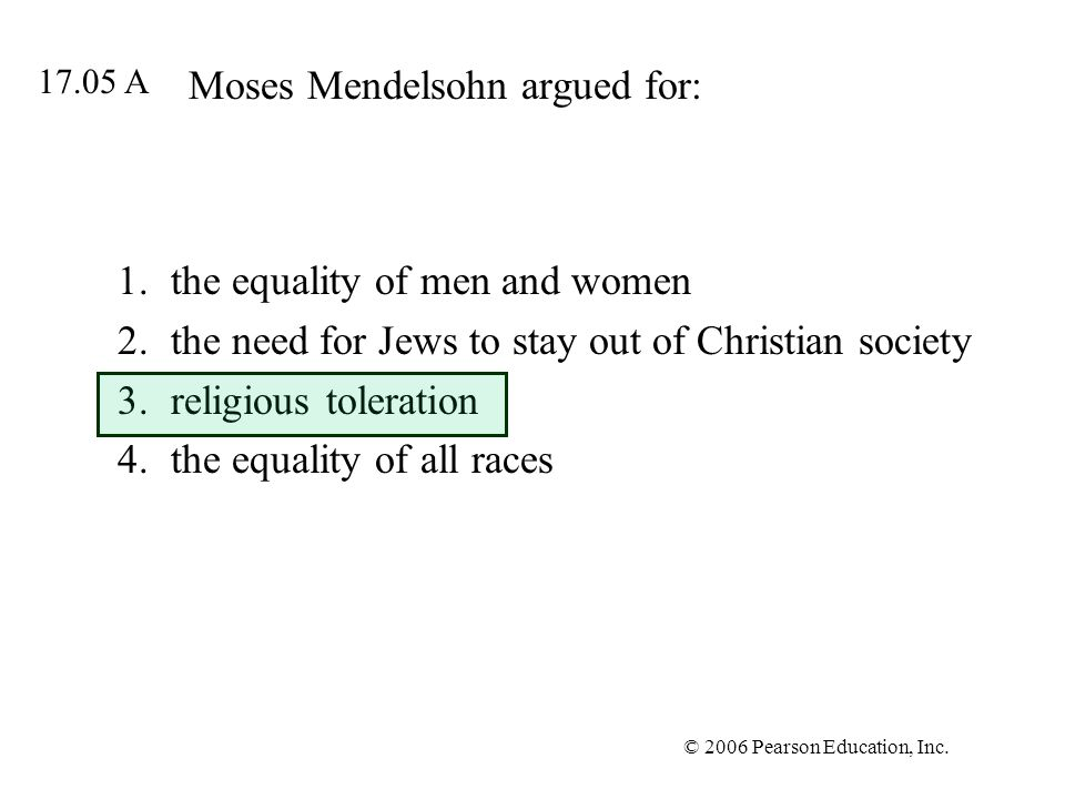 Moses Mendelsohn argued for: