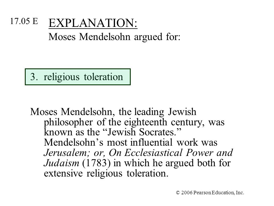 EXPLANATION: Moses Mendelsohn argued for: