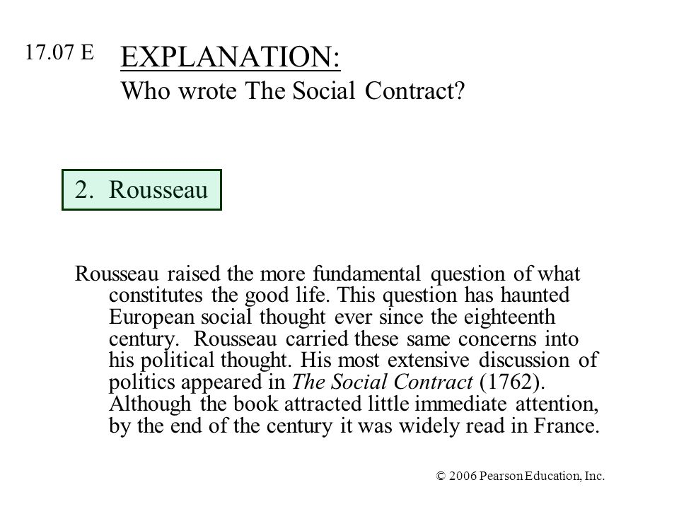EXPLANATION: Who wrote The Social Contract