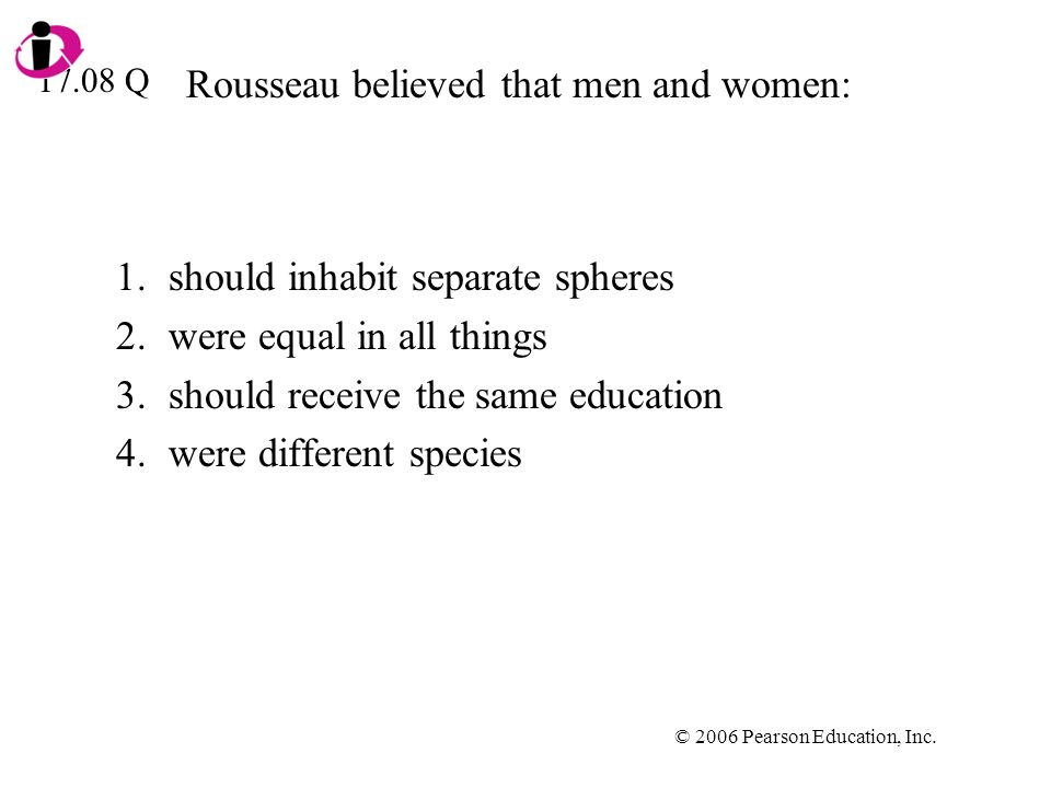 Rousseau believed that men and women: