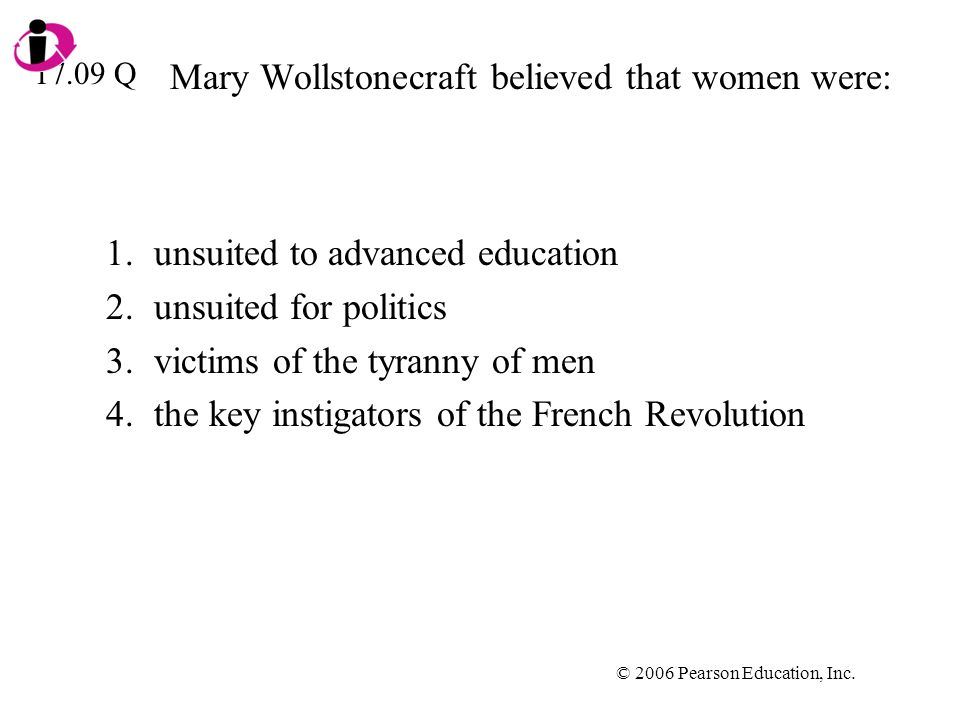Mary Wollstonecraft believed that women were: