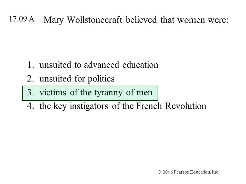 Mary Wollstonecraft believed that women were: