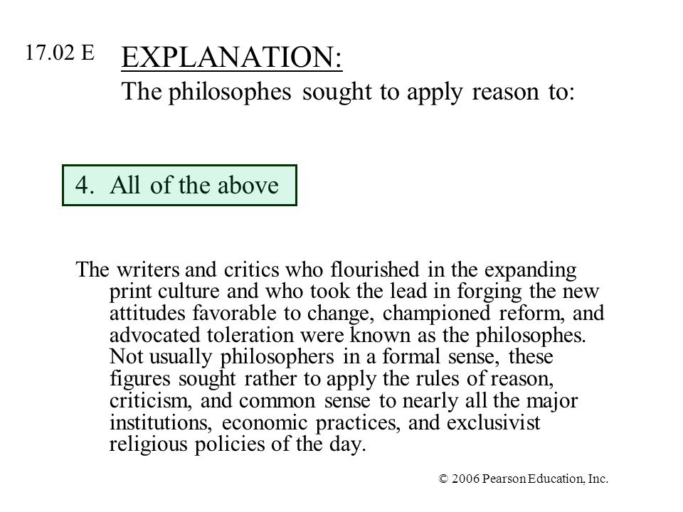 EXPLANATION: The philosophes sought to apply reason to: