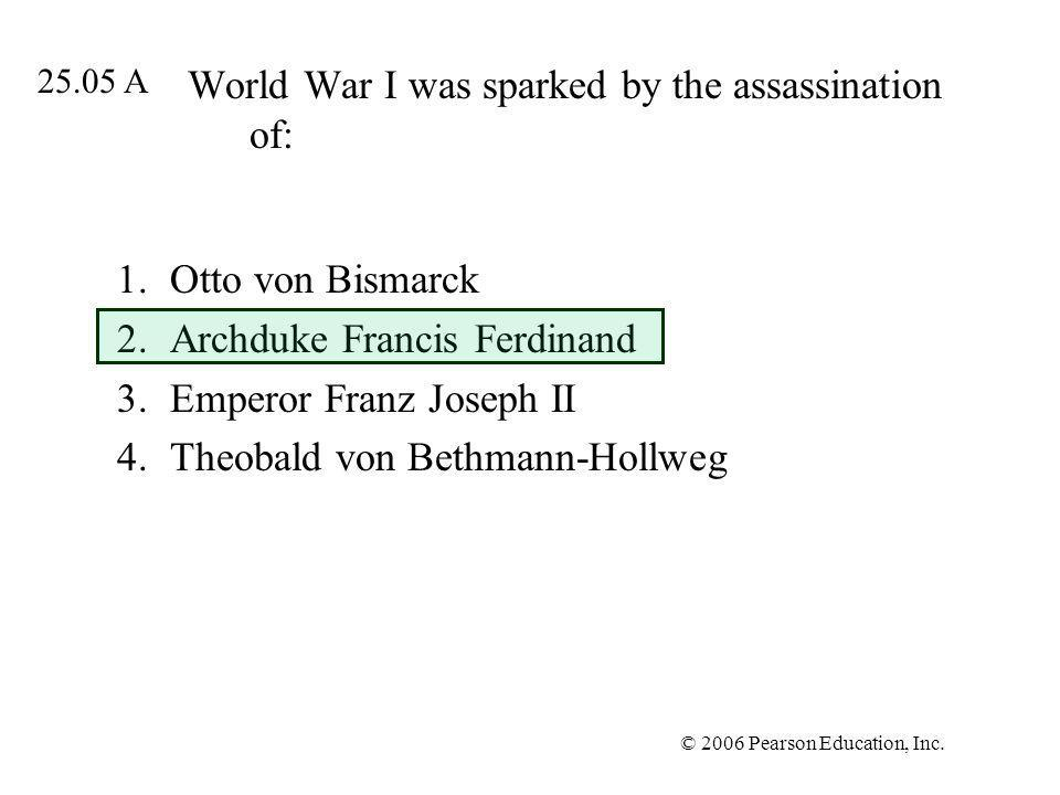 World War I was sparked by the assassination of: