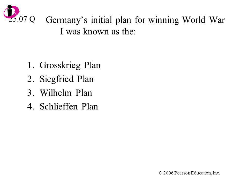 Germany's initial plan for winning World War I was known as the: