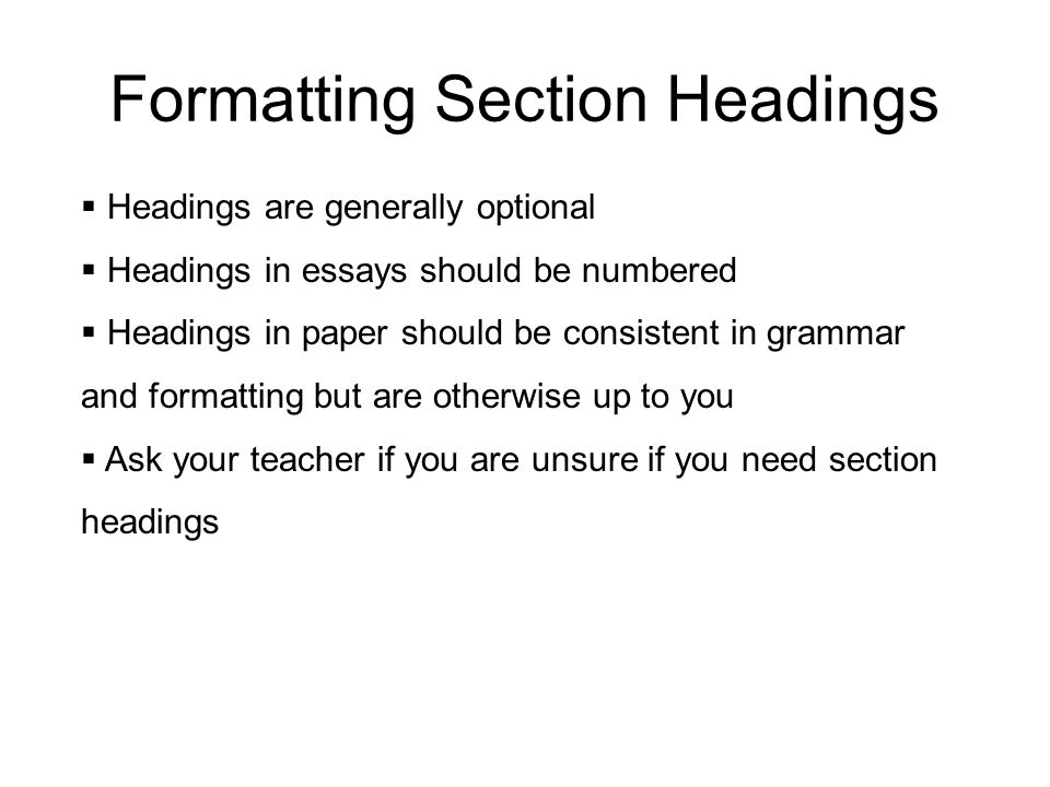 Formatting Section Headings