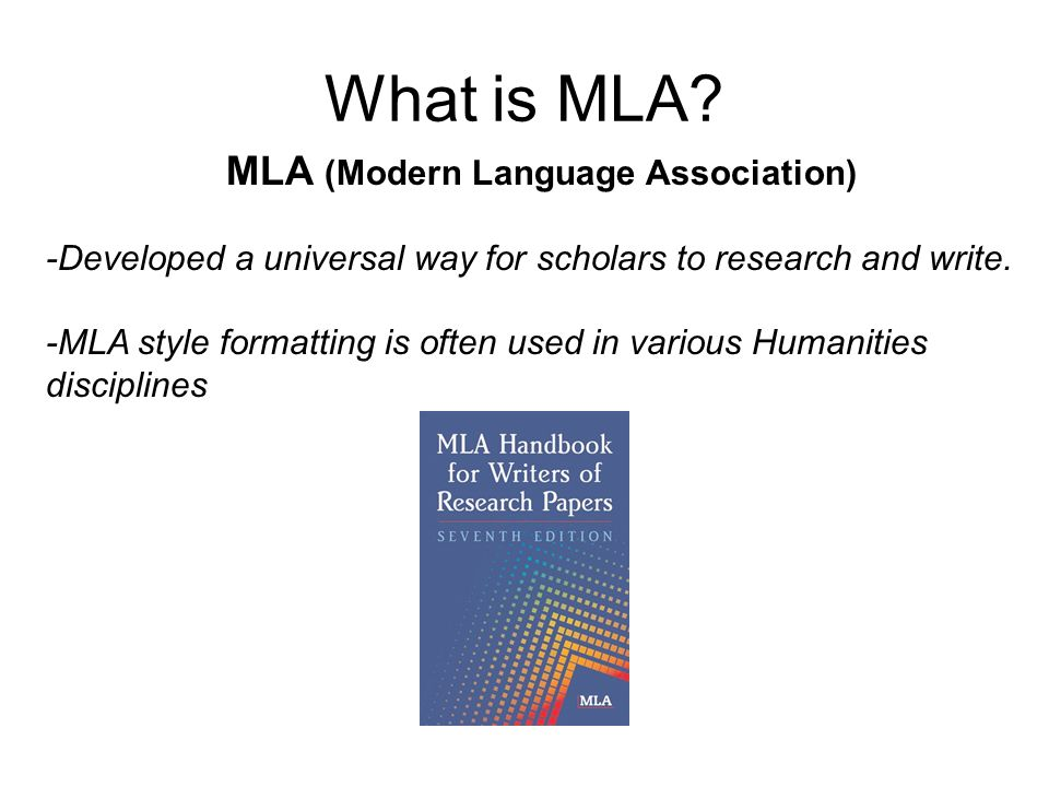 MLA (Modern Language Association)