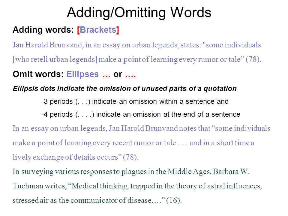 Adding/Omitting Words