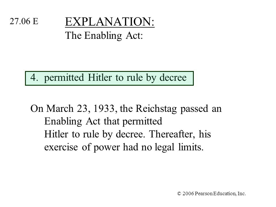 EXPLANATION: The Enabling Act: