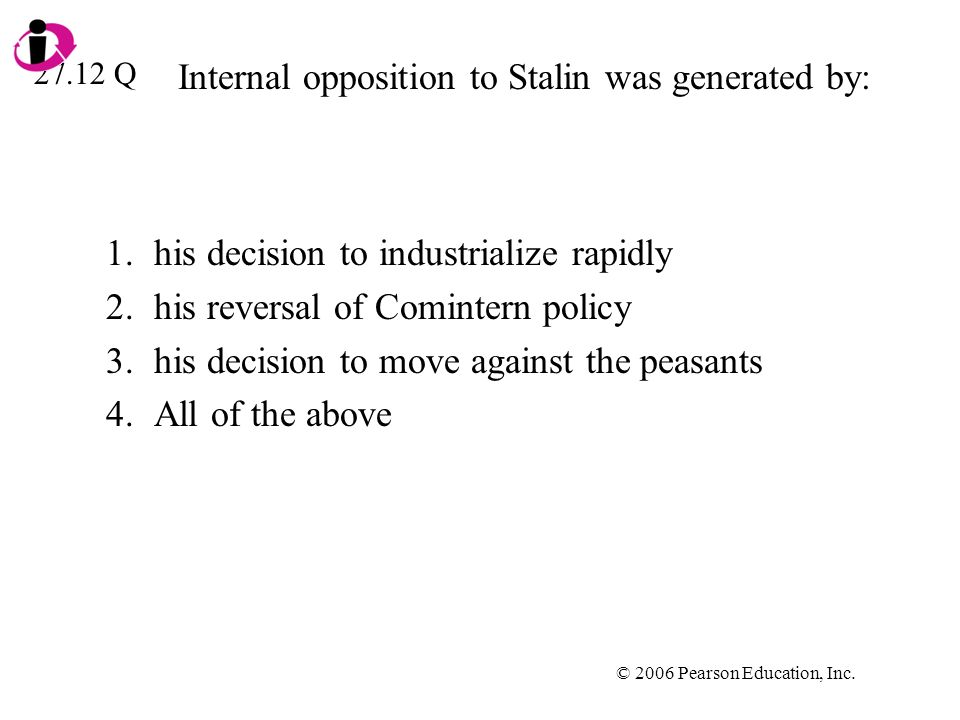 Internal opposition to Stalin was generated by: