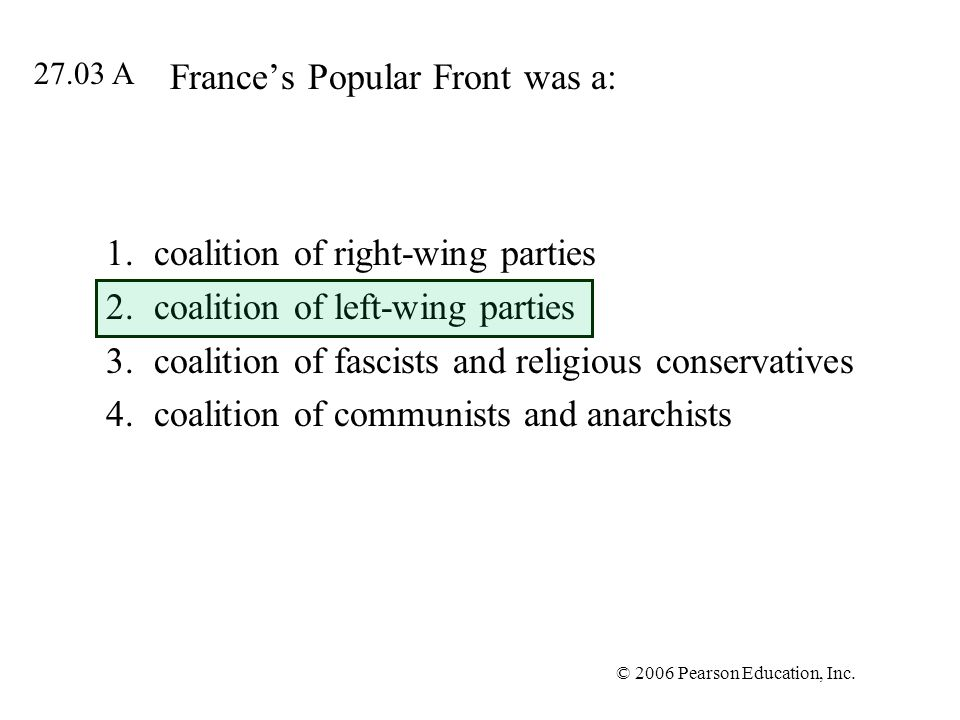 France's Popular Front was a: