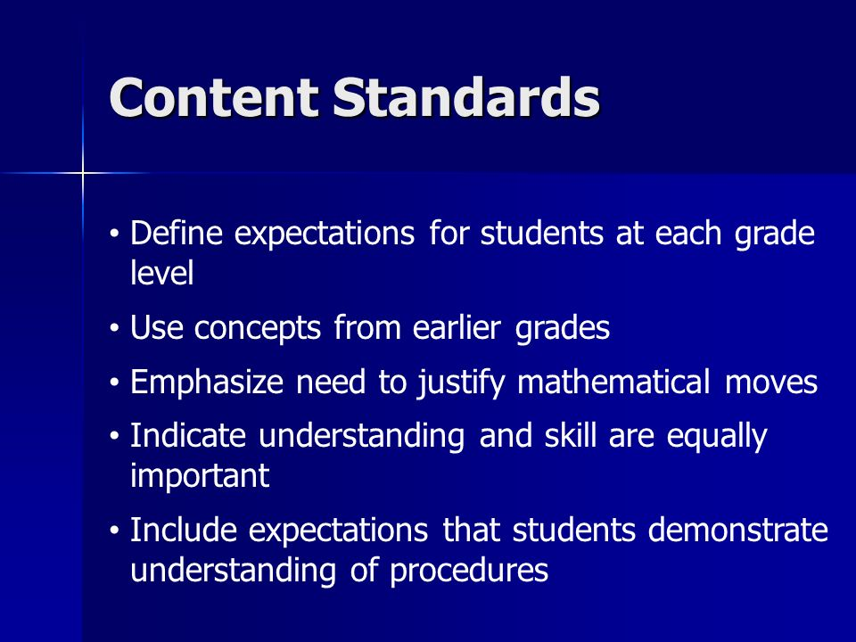 Content Standards Define expectations for students at each grade level