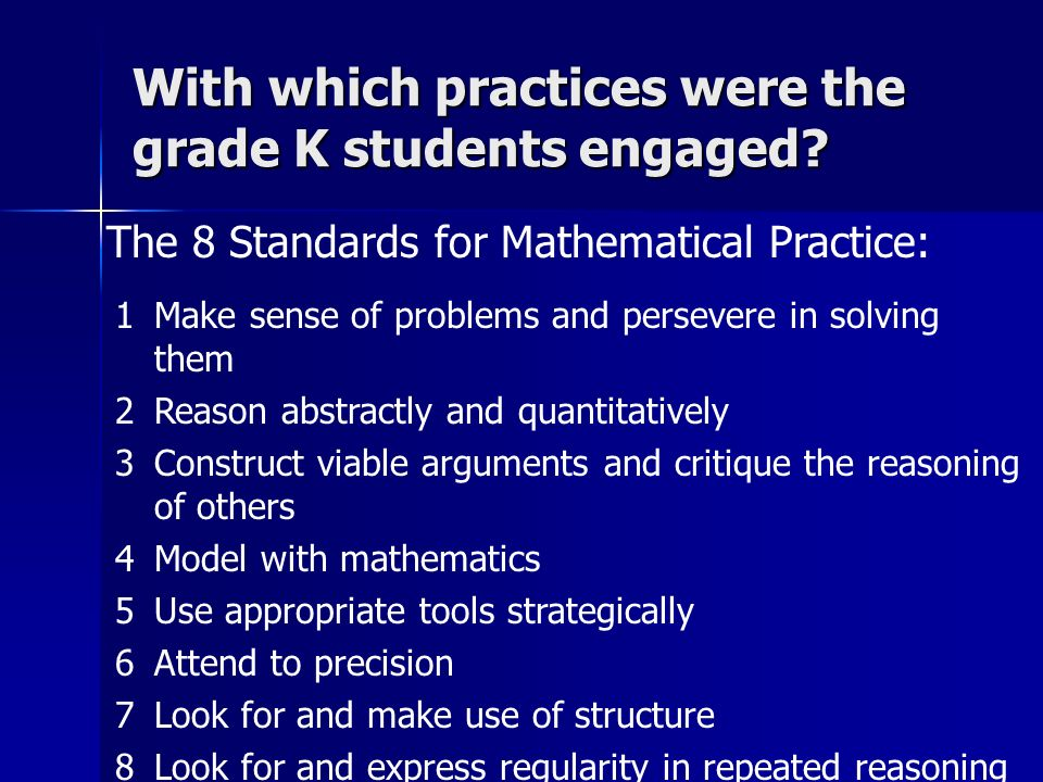 With which practices were the grade K students engaged