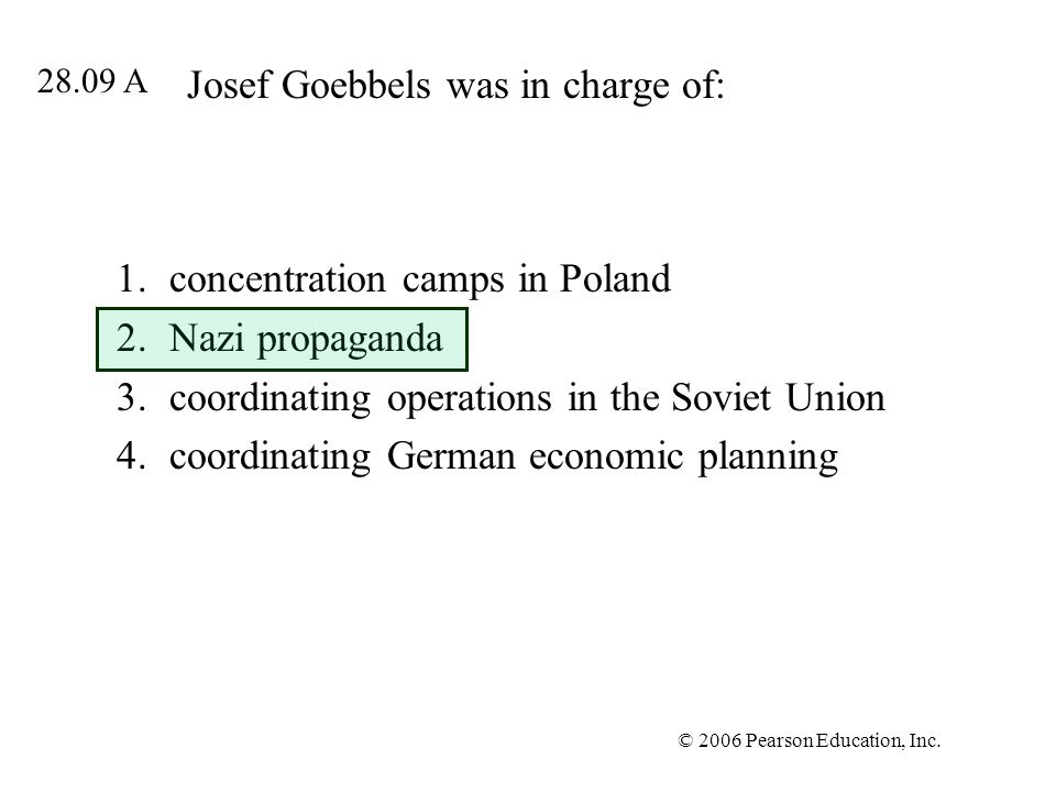 Josef Goebbels was in charge of: