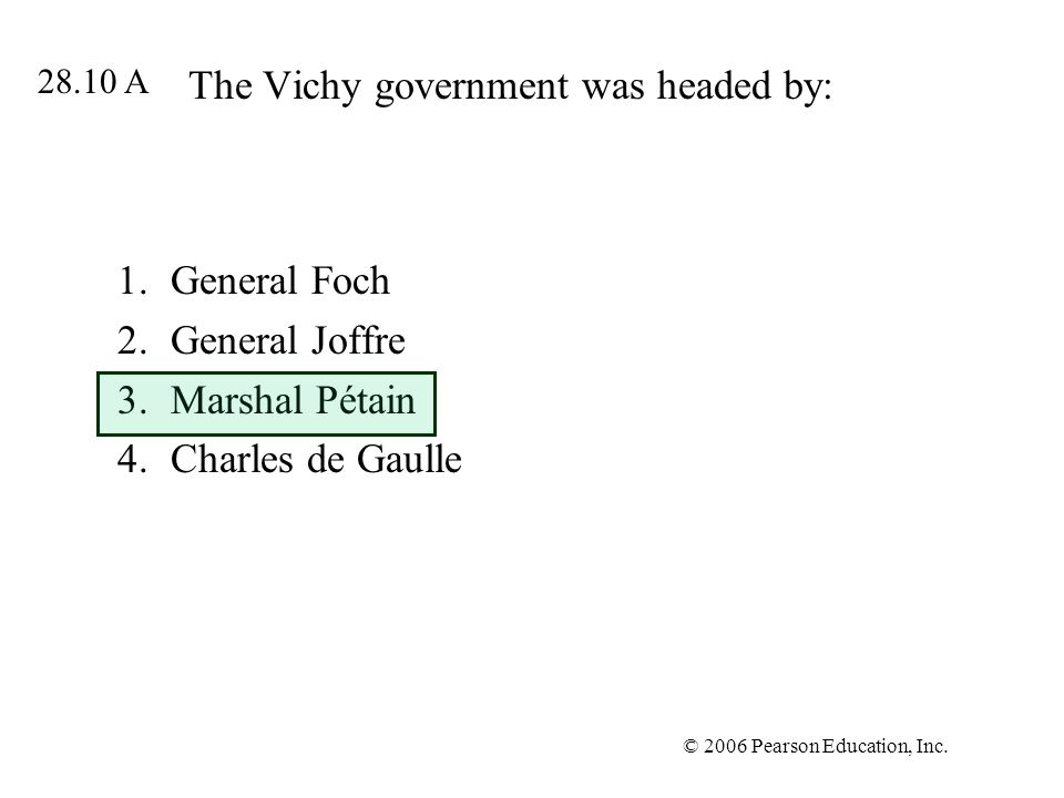 The Vichy government was headed by: