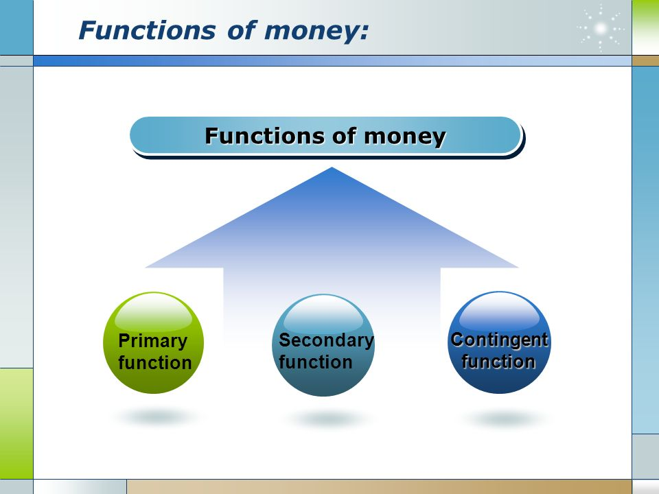 secondary functions of money Some of the contingent functions of money in economics are as follows: (i) distribution of national income (ii) maximization of satisfaction (iii) basis of credit creation (iv) productivity of capital (v) bearer of options and (vi) guarantee of solvency total output of the country is jointly.
