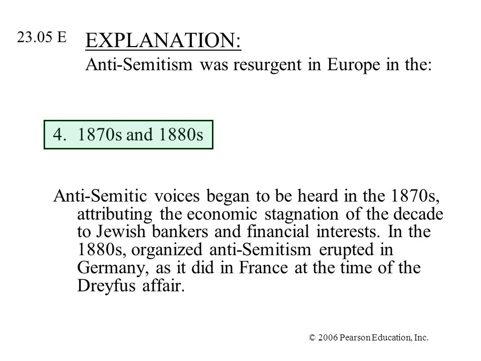 EXPLANATION: Anti-Semitism was resurgent in Europe in the: