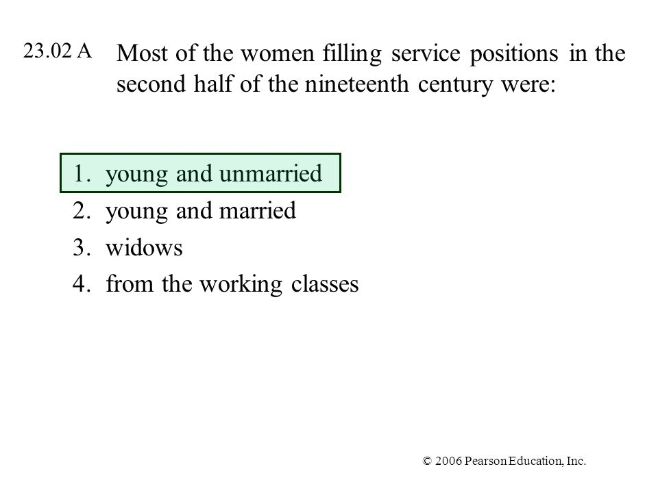 young and unmarried young and married widows from the working classes