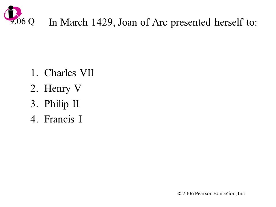 In March 1429, Joan of Arc presented herself to: