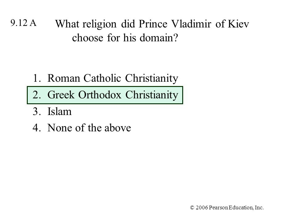 What religion did Prince Vladimir of Kiev choose for his domain