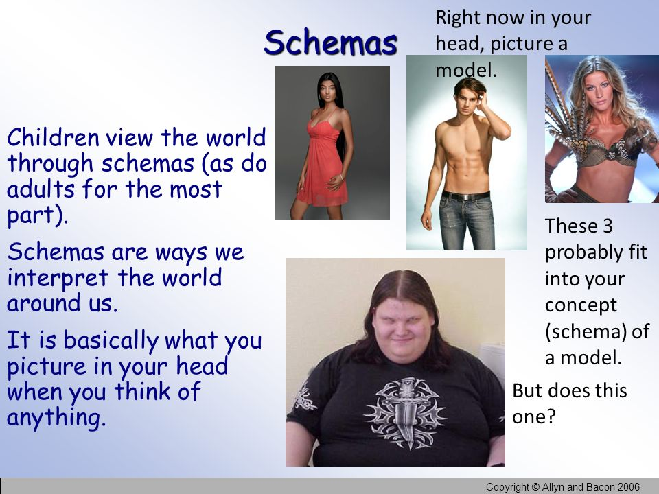 Schemas Right now in your head, picture a model.