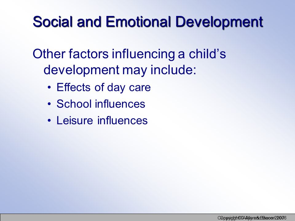 Social and Emotional Development