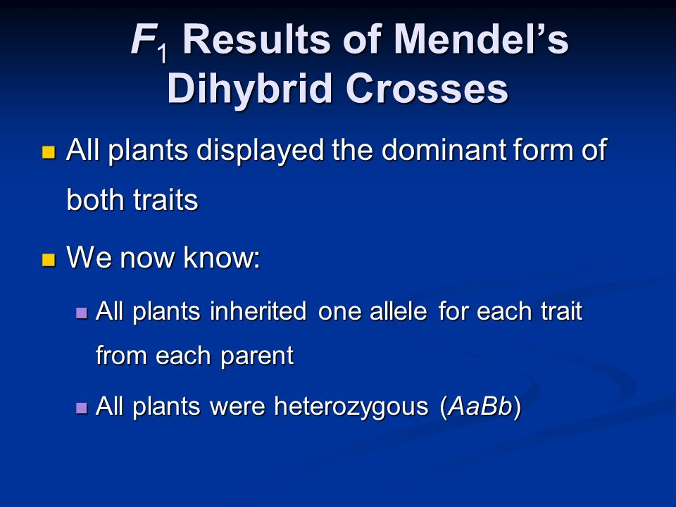 F1 Results of Mendel's Dihybrid Crosses