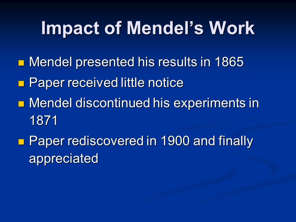 Impact of Mendel's Work