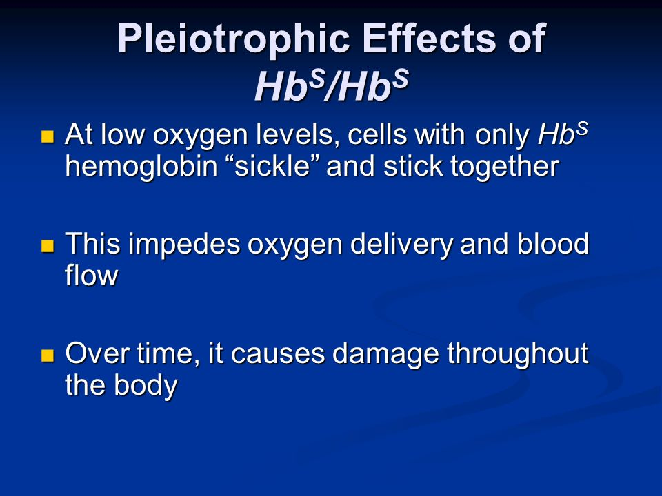 Pleiotrophic Effects of HbS/HbS