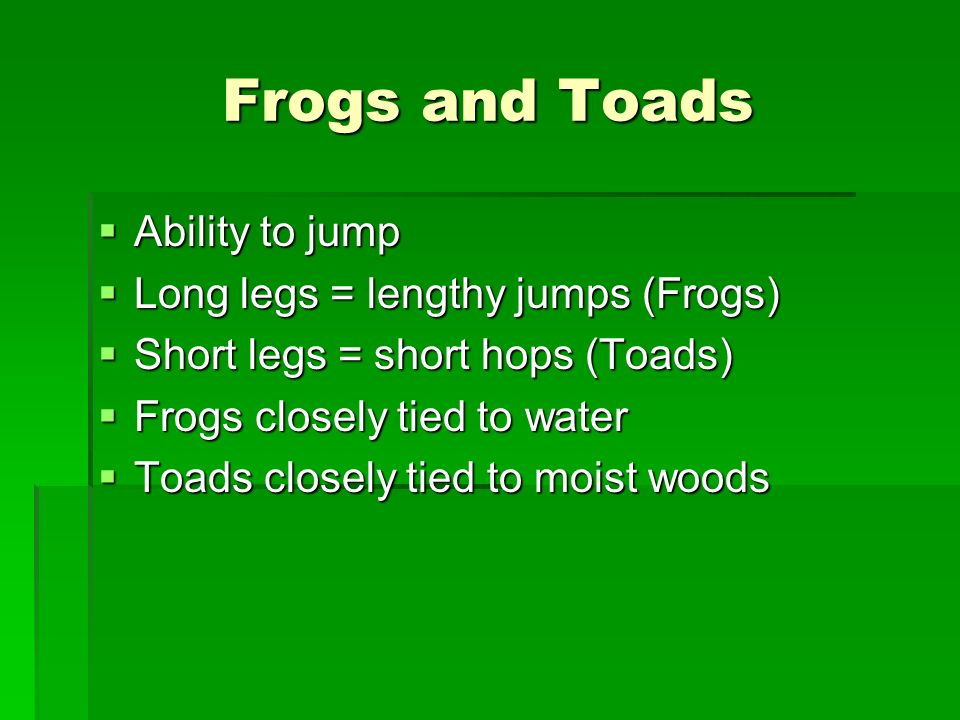 Frogs and Toads Ability to jump Long legs = lengthy jumps (Frogs)