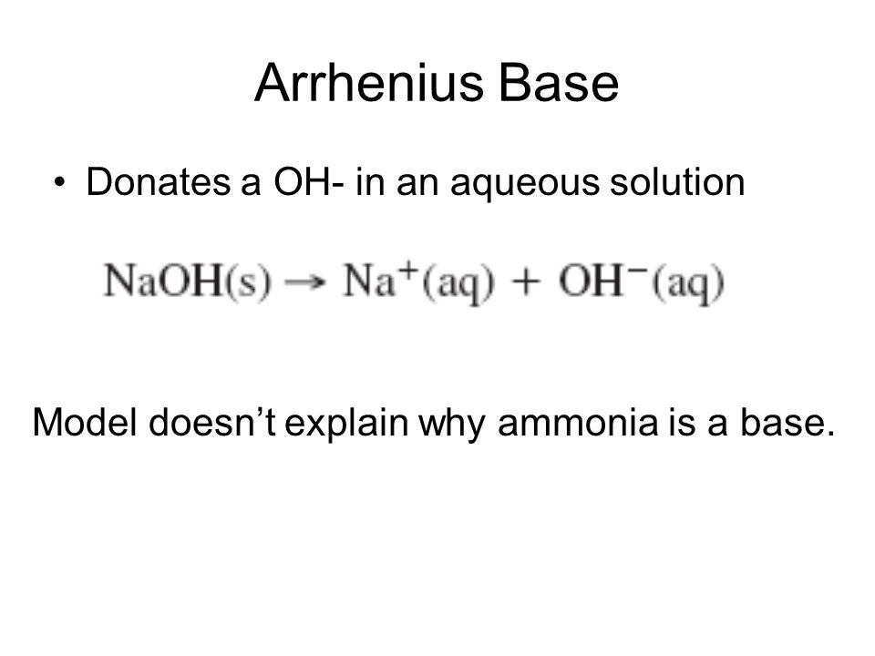 Model doesn't explain why ammonia is a base.