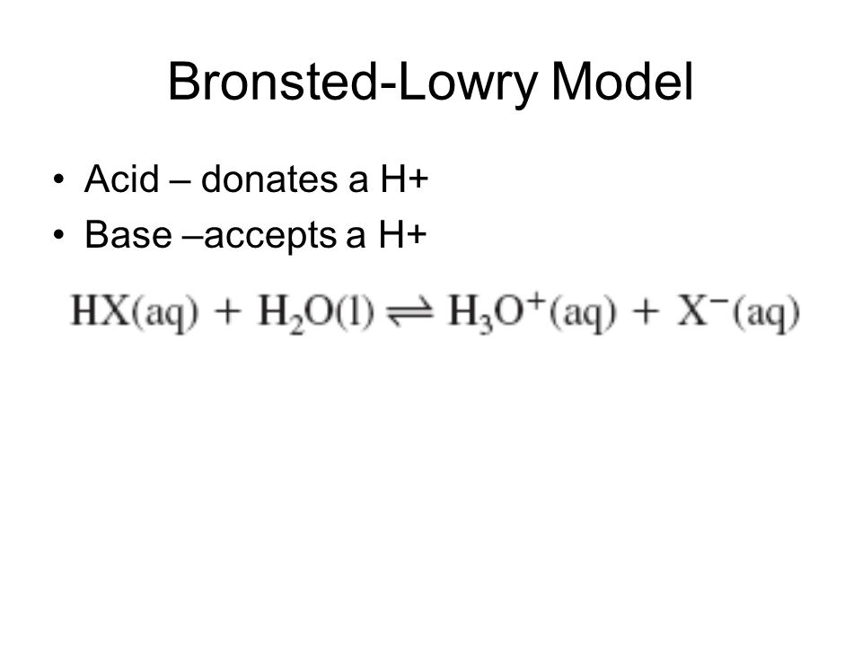 Bronsted-Lowry Model Acid – donates a H+ Base –accepts a H+