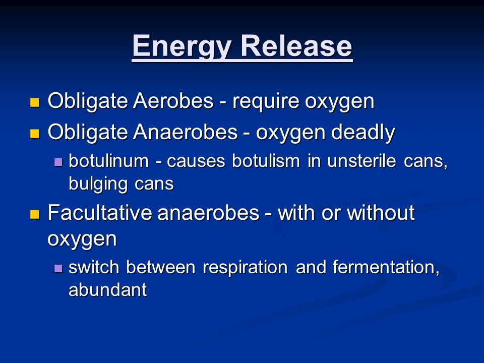 Energy Release Obligate Aerobes - require oxygen