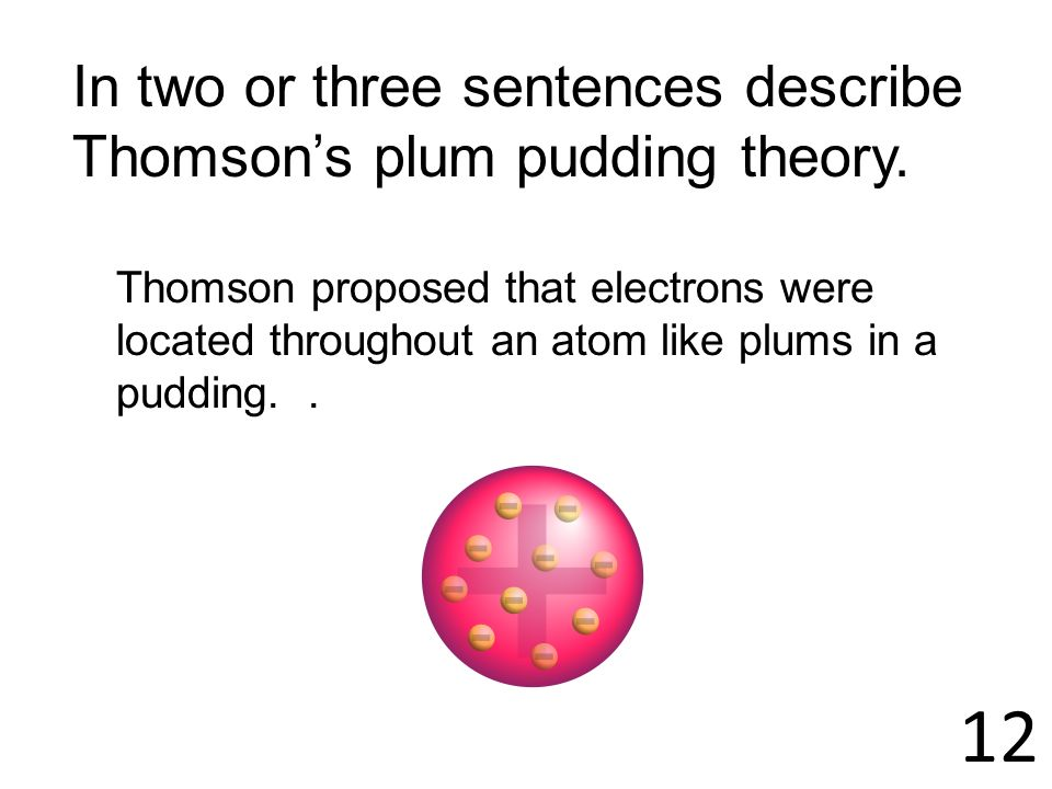 12 In two or three sentences describe Thomson's plum pudding theory.