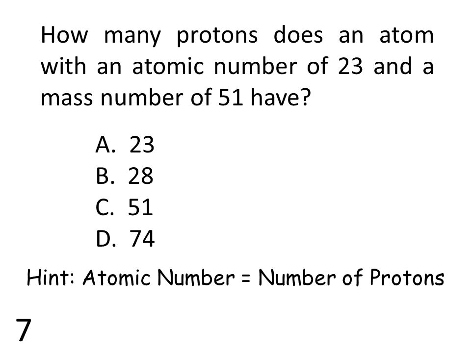 Hint: Atomic Number = Number of Protons
