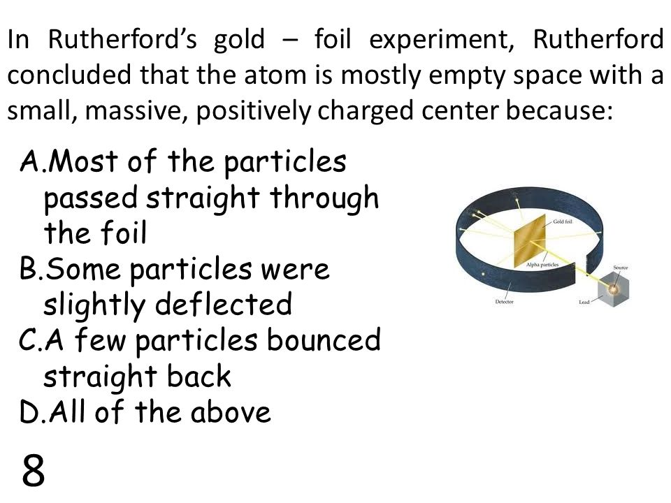 In Rutherford's gold – foil experiment, Rutherford concluded that the atom is mostly empty space with a small, massive, positively charged center because: