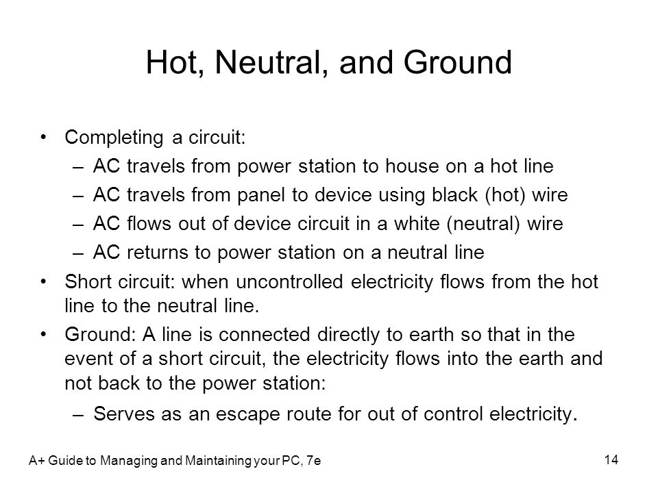 Hot, Neutral, and Ground Completing a circuit: