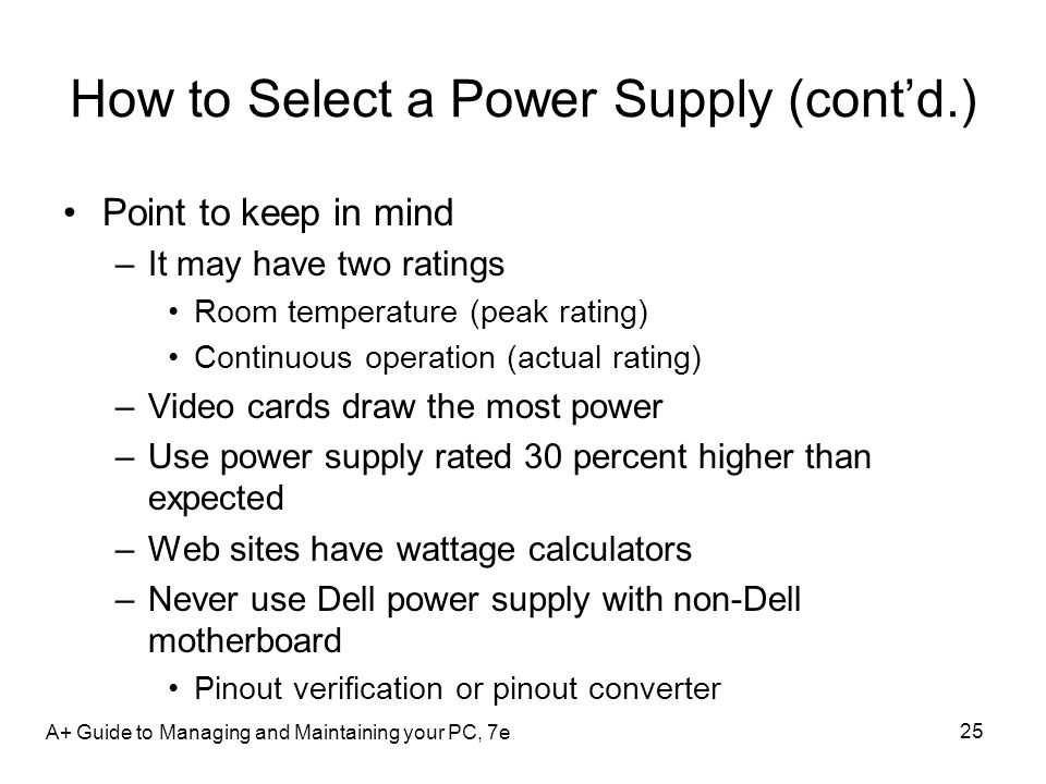How to Select a Power Supply (cont'd.)
