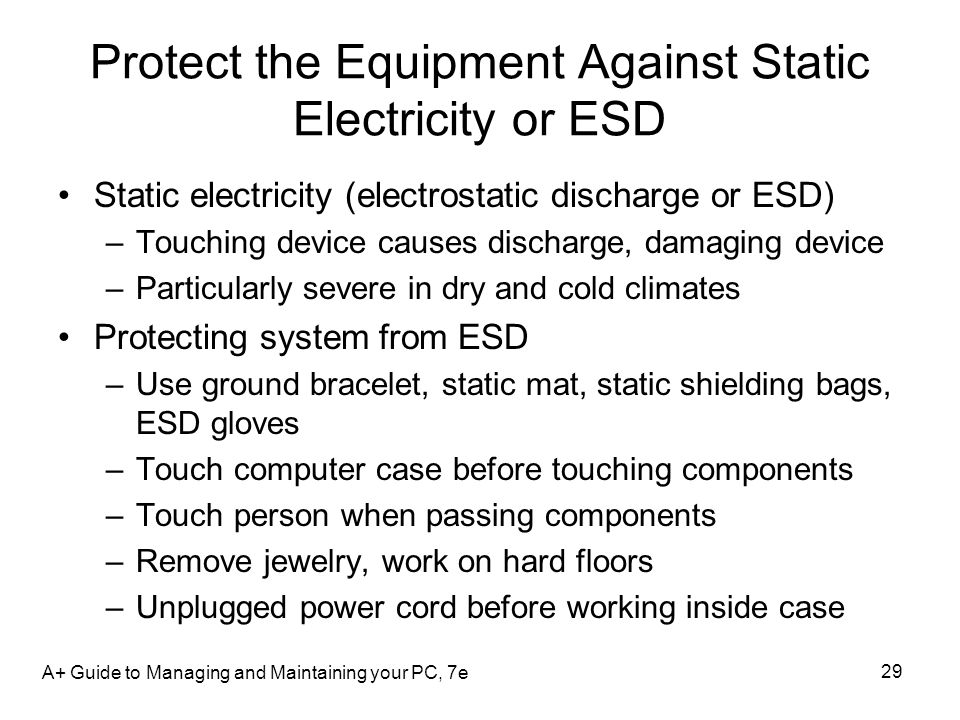 Protect the Equipment Against Static Electricity or ESD