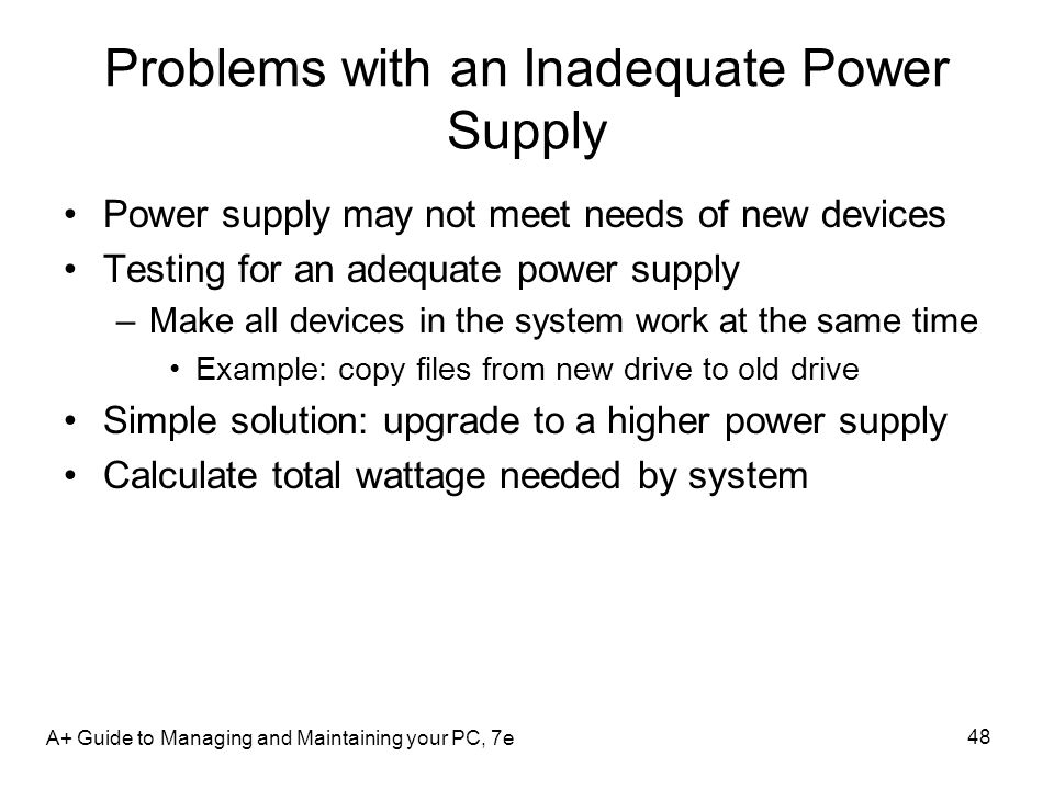 Problems with an Inadequate Power Supply