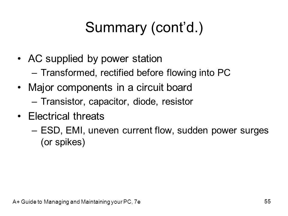 Summary (cont'd.) AC supplied by power station
