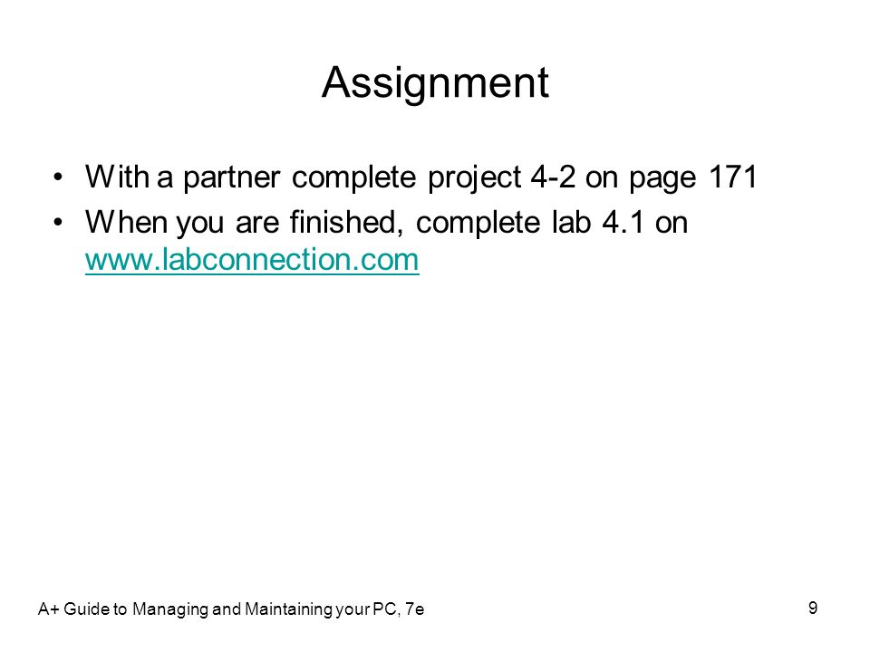 Assignment With a partner complete project 4-2 on page 171