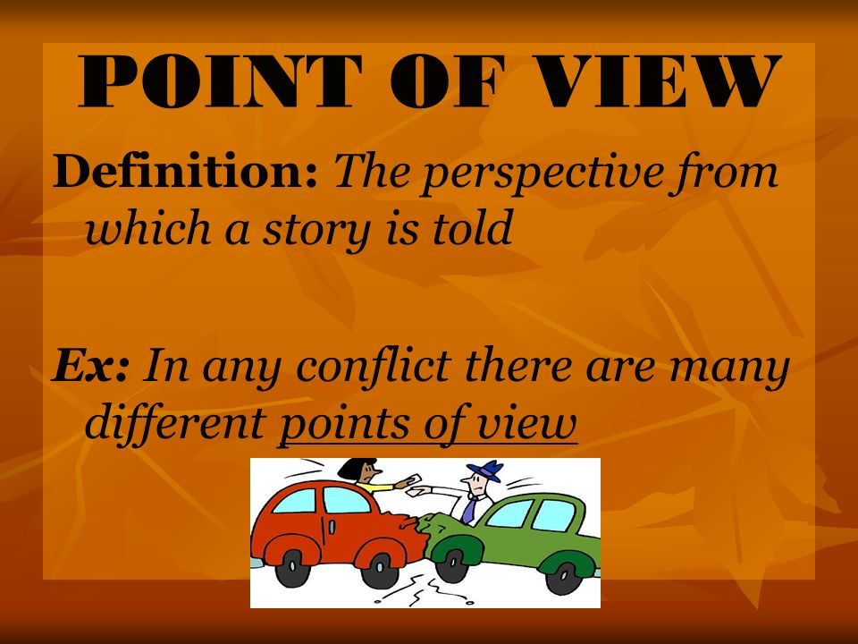 POINT OF VIEW Definition: The perspective from which a story is told