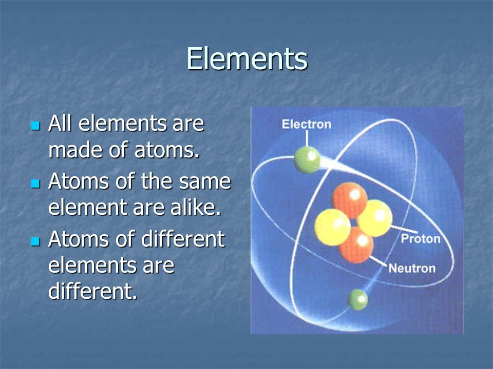 Elements All elements are made of atoms.