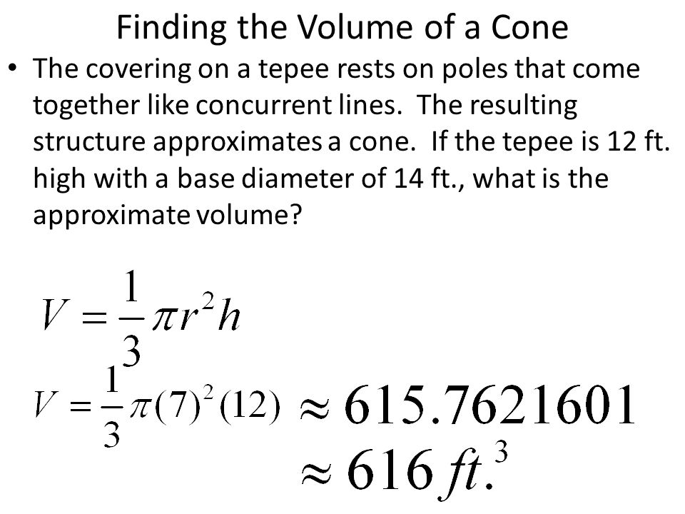how to find the volume of a cone