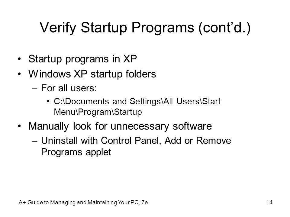 Verify Startup Programs (cont'd.)