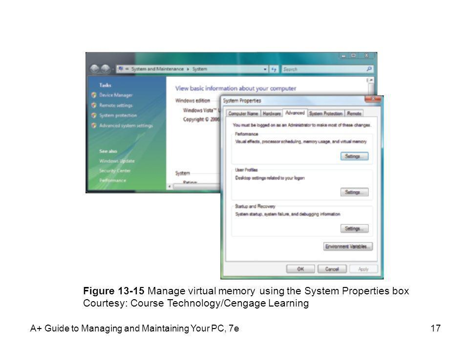 Figure Manage virtual memory using the System Properties box